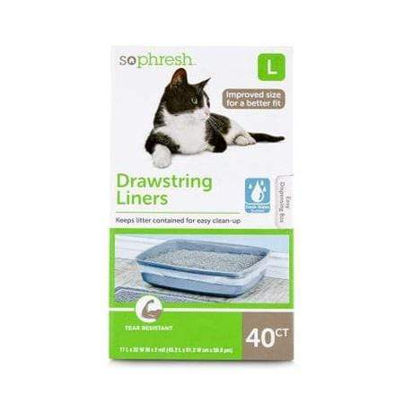 "So Phresh Scented Drawstring Cat Litter Pan Liners, 17"" L x 32"" W"