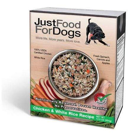 JustFoodForDogs Pantry Fresh Chicken and White Rice Dog Food, 12.5 oz., Case of 12