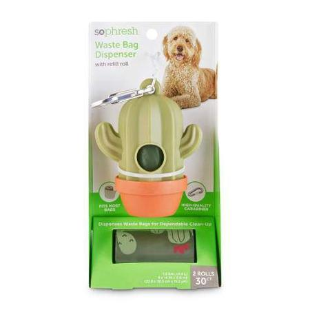 So Phresh Cactus-Shaped Dog Waste Bag Dispenser with Refill Rolls