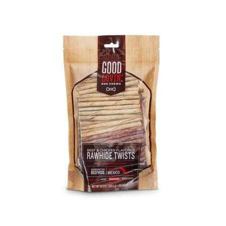 Good Lovin' Beef and Chicken Flavored Rawhide Twist Dog Chews, Pack of 100