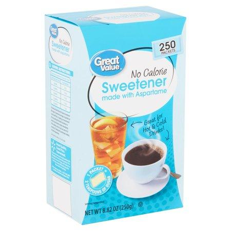 (250Pkets) Great Value Aspartame No Calorie Sweetenerpkets