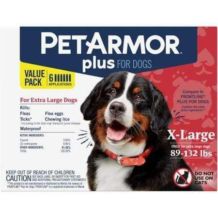 PetArmor Plus F&T Squeeze-On Dog 89-132 lbs., Count of 6