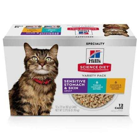 Hill's Science Diet Adult Sensitive Wet Cat Food Variety Pack, 2.9 oz., Count of 12