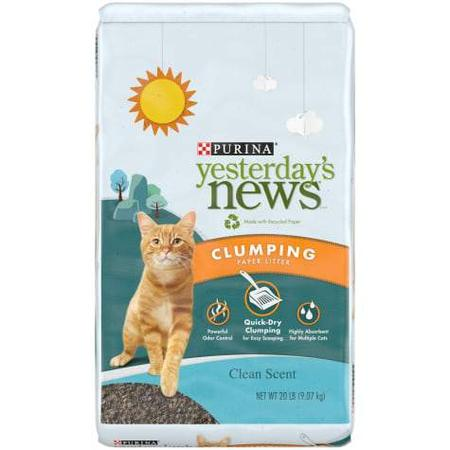 Purina Yesterday's News Clean Scent Clumping Paper Lightweight Multi Cat Litter, 20 lbs.