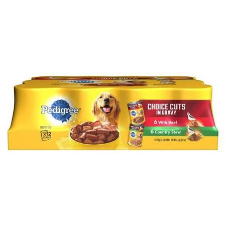 (12Pk) Pedigree Choice Cuts In Gravy With Beef And Cntry Stew Adult Canned Wet Dog Food Varietypk, 13.2-Oz. Cans
