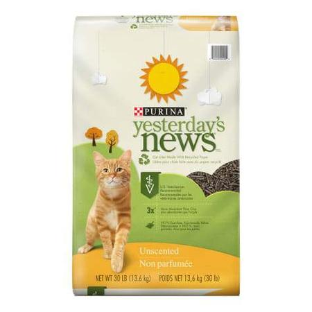 Purina Yesterday's News Paper Unscented Low Tracking Cat Litter, 30 lbs.