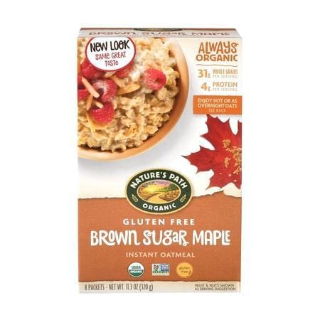 Nature' Path Gluten-Free Instant Oatmeal, Brown Sugar Maple, 8 Pack Hot Cereal - EasyBins, Grocery - food