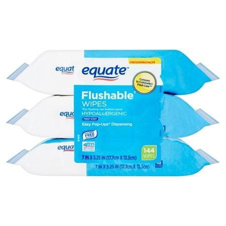 Equate Flushable Wipes, Fresh Scent, 3Pks Of 48 Wipes, 144 Wipes Total
