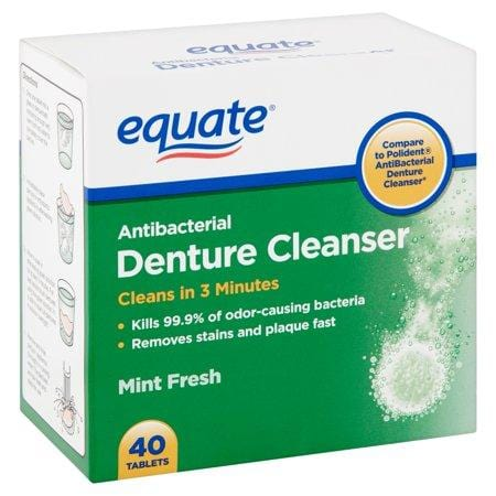 Equate Mint Fresh Antibacterial Denture Cleanser Tablets, 40 Cnt