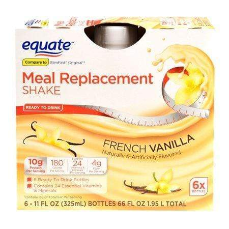 Equate Meal Replacement Shake, French Vanilla, 11-Oz, 6 Ct