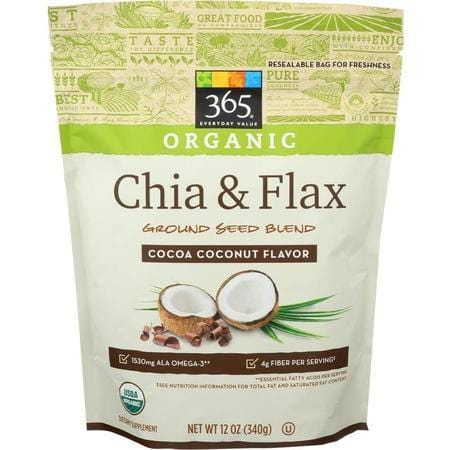 365 Everyday Value, Organic Chia & Flax Ground Seed Blend, Cocoa Coconut Flavor, 12 oz