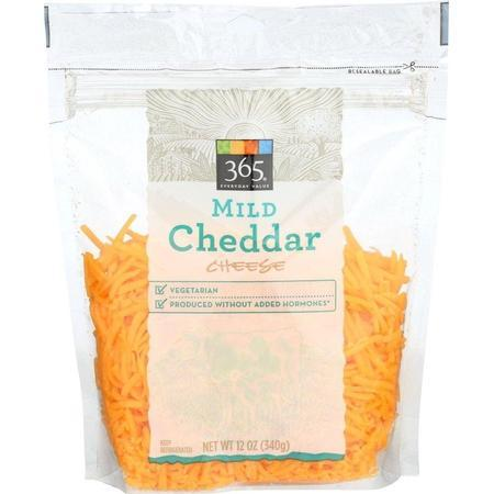 365 Everyday Value, Cheddar Mild Shred, 12 Ounce