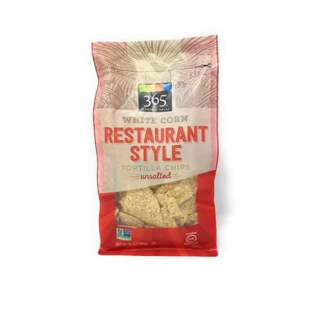 365 Everyday Value, Tortilla Chips White Corn Unsalted Restaurant Style, 14 Oz