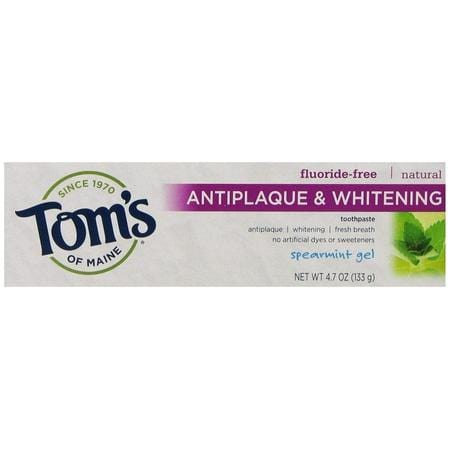 Tom's of Maine Natural Antiplaque and Whitening Fluoride Free Toothpaste, Spearmint, 4.7 Ounce