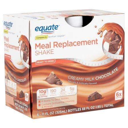 Equate Meal Replacement Shake, Creamy Milk Chocolate, 11-Oz, 6 Ct