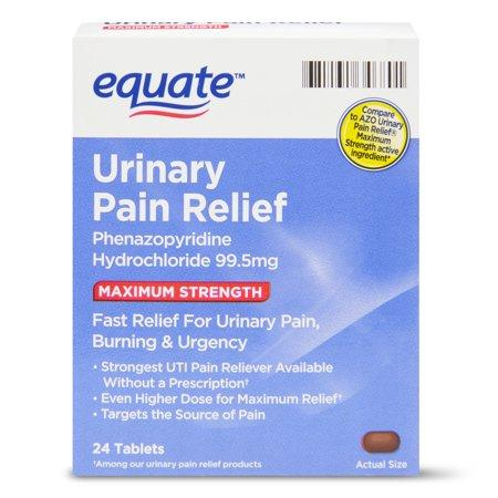 Equate Maximum Strength Urinary Pain Relief Phenazopyridine Tablets, 99.5 Mg, 24 Cnt