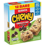 Quaker Chewy Granola Bars, Chocolate Chip, 0.84 oz Bars, 12 Count