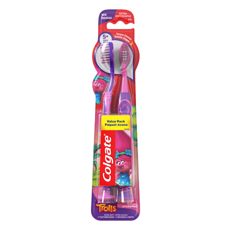 (Pack of 2) Colgate Trolls Kids Manual Toothbrush with Suction Cup, Extra Soft