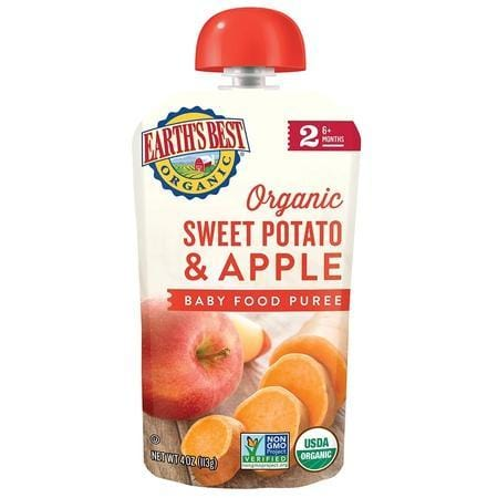 Earth's Best Organic Stage 2 Baby Food, Sweet Potato and Apple, 4 oz. Pouch