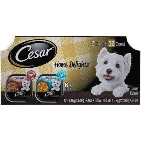 Cesar Home Delights Wet Dog Food Slow Cooked Chicken & Vegetables Dinner And Beef Stew Varietypk, 3.5-Oz. Easy Peel Trays