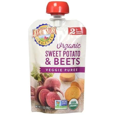 Earth's Best, Organic Baby Food, Stage 2, Sweet Potatoes & Beets, 3.5 oz Pouch