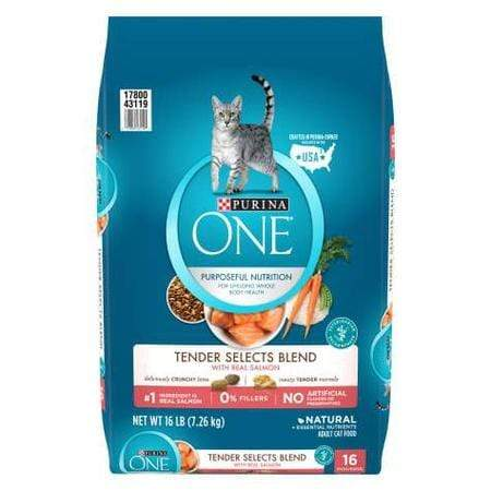 Purina ONE Natural Tender Selects Blend With Real Salmon Dry Cat Food, 16 lbs.