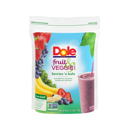 Dole Fruit & Veggie Smoothie Blends, Berries n' Kale, 40 oz. Frozen Fruit, Strawberries, Bananas, Blueberries and Kale