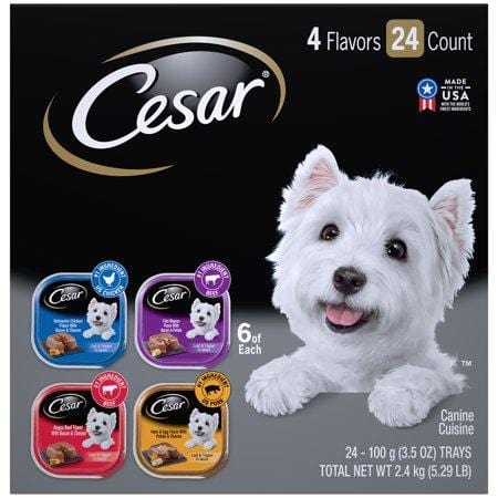 (24Pk) Cesar Wet Dog Food Loaf In Sauce Rotisserie Chicken, Filet Mignon, Angus Beef, And Ham & Egg Flavors Varietypk, 3.5-Oz. Easy Peel Trays