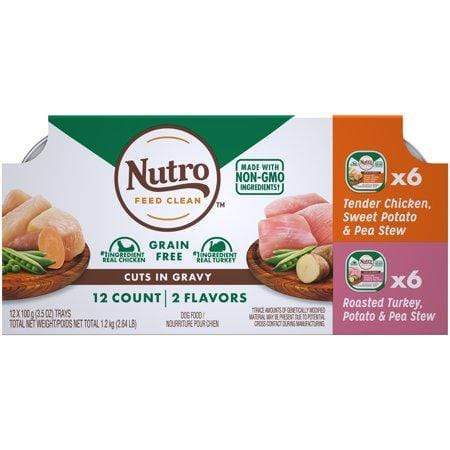 (12Pk) Nutro Adult High Protein Natural Grain Free Wet Dog Food Cuts In Gravy Tender Chicken, Sweet Potato & Pea Stew, Roasted Turkey, Potato & Pea Stew Varietypk, 3.5-Oz. Trays
