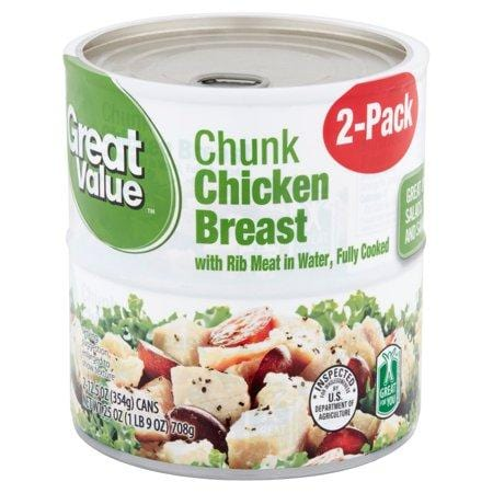 Great Value Chunk Chicken Breast In Water, 12.5-Oz