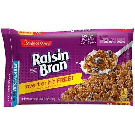 Malt-O-Meal Breakfast Cereal, Raisin Bran, 39 Oz, Bag