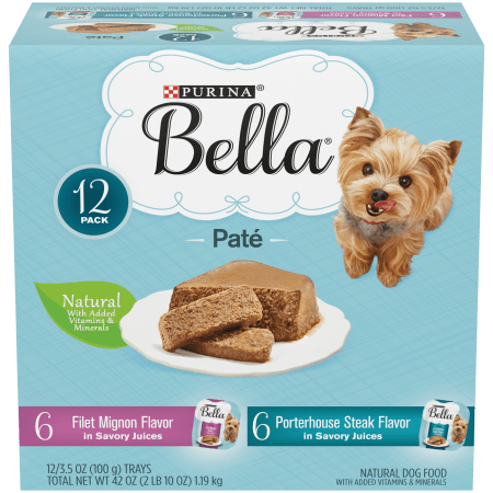 (12Pk) Purina Bella Natural Small Breed Pate Wet Dog Food Varietypk, Filet Mignon & Porterhouse Steak In Juices, 3.5-Oz. Trays