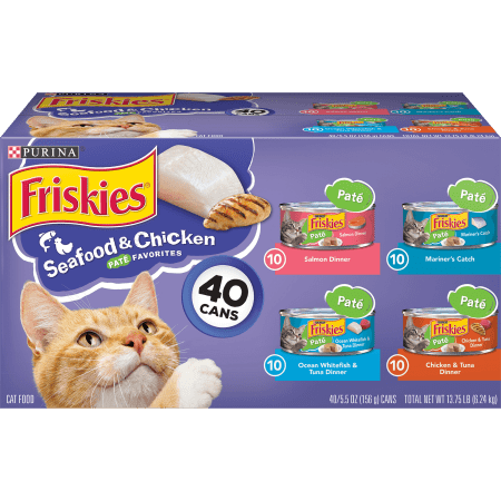 Friskies Pate Wet Cat Food Varietypk Seafood & Chicken Pate Favorites 5.5-Oz. Cans