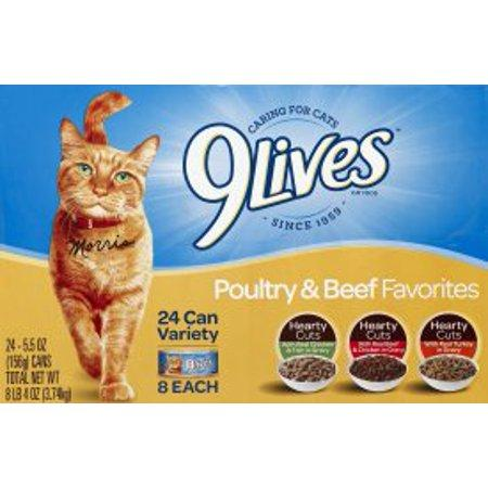 9Lives Poultry And Beef Favorites Varietypk Cat Food, 5.5-Oz. Cans, 24 pack