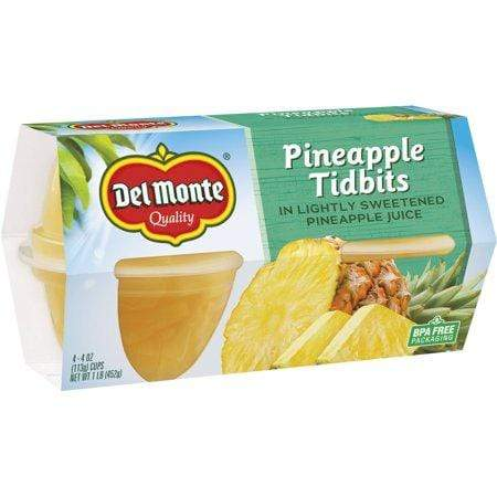 Del Monte Pineapple Tidbits In Lightly Sweetened Pineapple Juice, 4-Oz Cups
