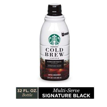 (1 Bottle) Starbucks Cold Brew Coffee, Signature Black Multi-Serve Concentrate, 32-Oz