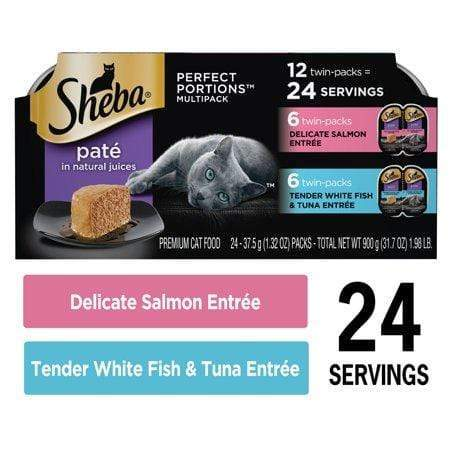 (12Pk - 24 Servings) Sheba Perfect Portions Wet Cat Food Pate Delicate Salmon Entree And Tender Whitefish & Tuna Entree Multipack, 2.6-Oz. Easy Peel Twin-Pack Trays