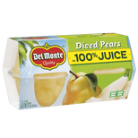 (4 cups) Del Monte Fruit Cup Snacks Diced Pears in 100% Juice 4 oz fruit cups