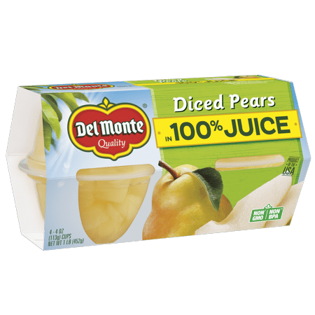 (4 Cups) Del Monte Fruit Cup Snacks Diced Pears In 100% Juice 4-Oz Fruit Cups