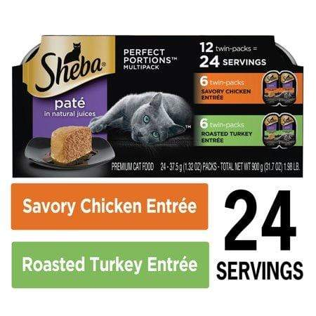 (12Pk - 24 Servings) Sheba Perfect Portions Wet Cat Food Pate Savory Chicken Entree And Roasted Turkey Entree Multipack, 2.6-Oz. Easy Peel Twin-Pack Trays