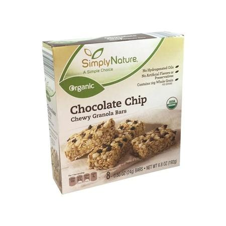 SimplyNature Organic Chocolate Chip Chewy Granola Bars, 6.8 oz