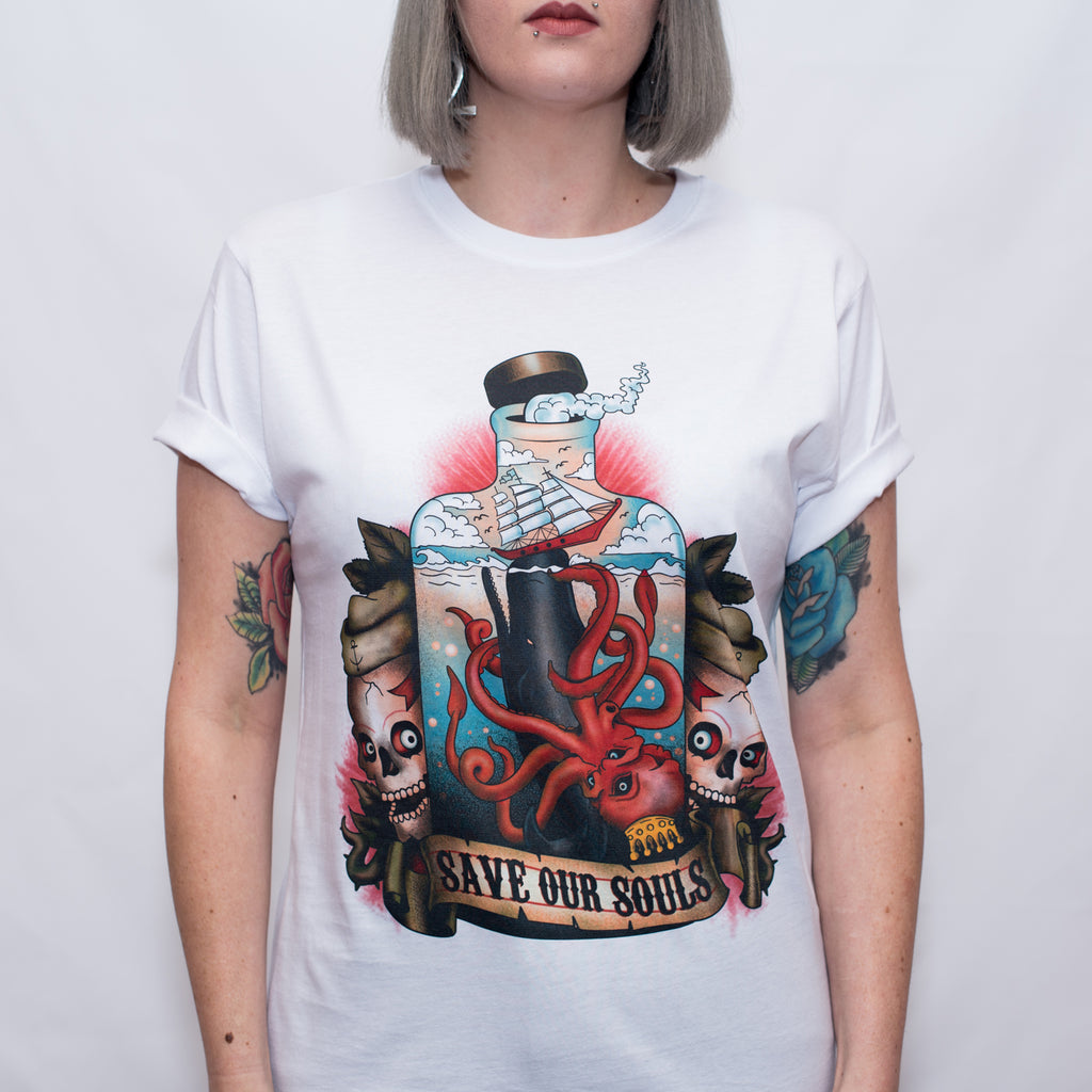 Message In A Bottle tattoo T Shirt - Save Our Souls Clothing