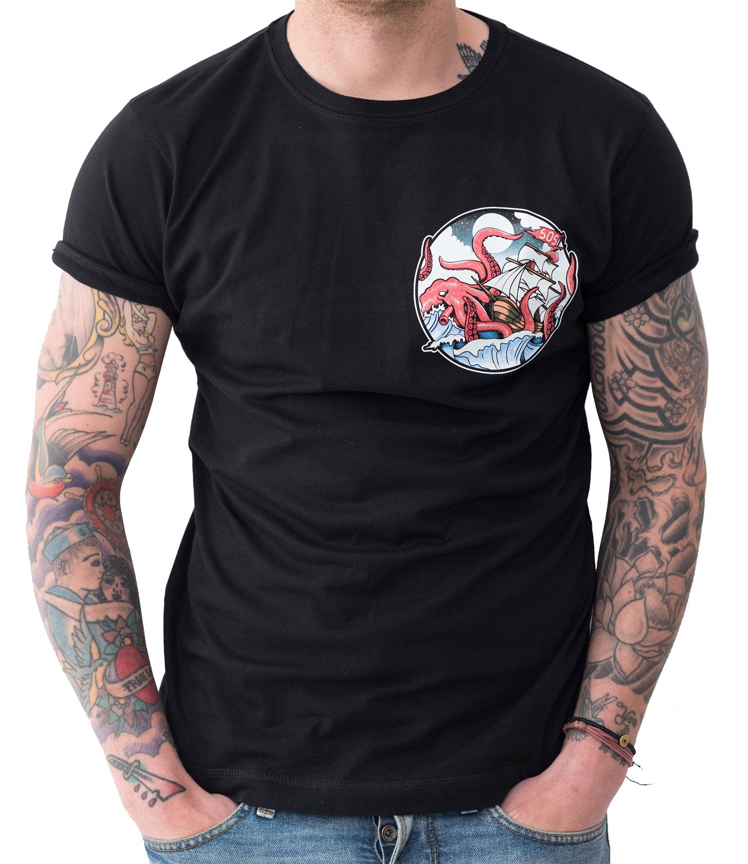 Kraken Attack Black T Shirt Save Our Souls Clothing