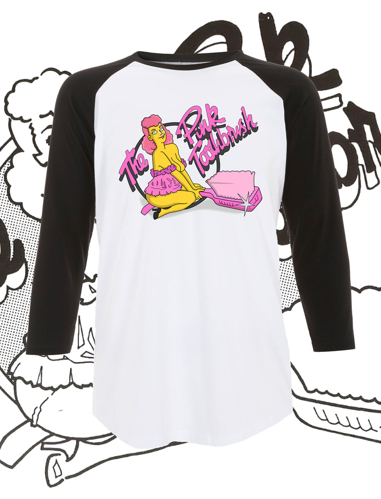 The Pink Toothbrush Cartoon Baseball T-Shirt