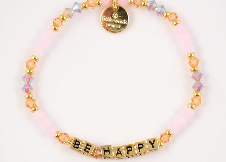 Be Happy Bracelet - Gold Letters