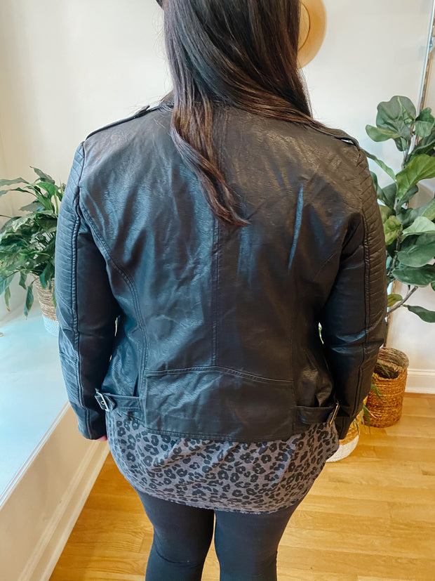 The Aria Leather Jacket (plus)