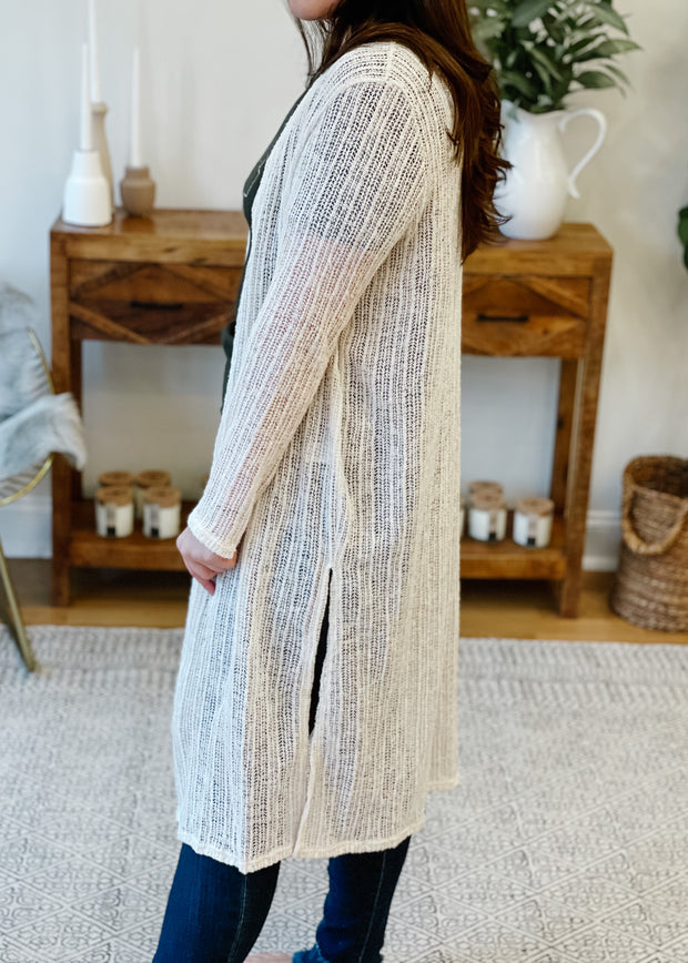 Long Knitted Mesh Cardi
