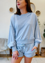 The Lia Washed Top (blue)