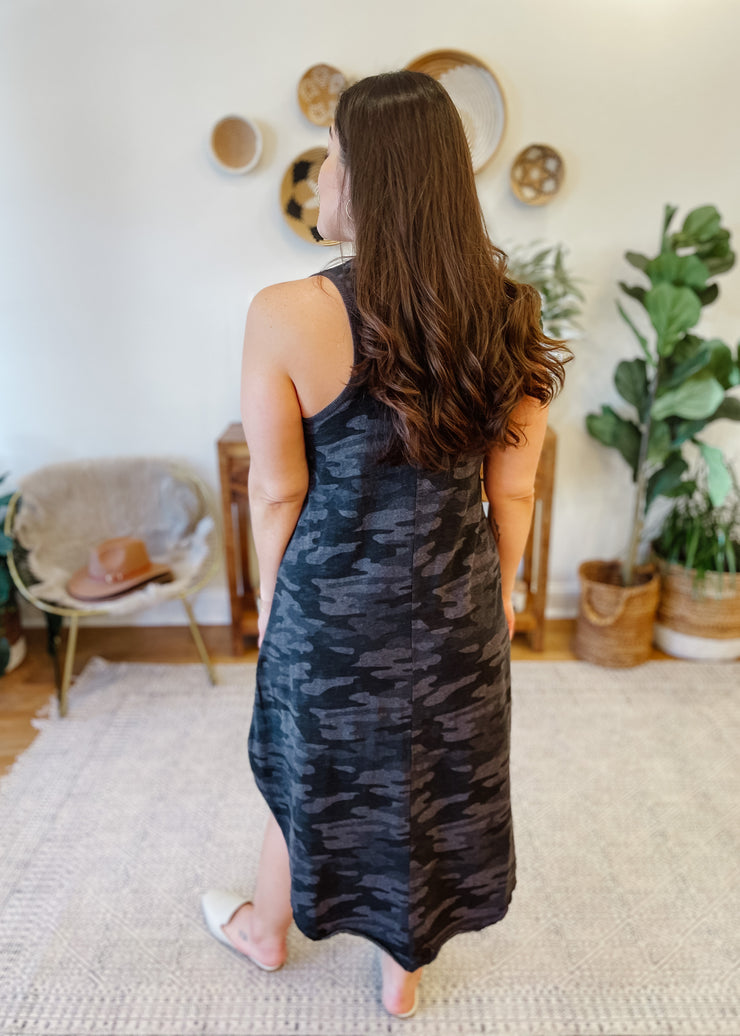 The Camo Reverie Dress (charcoal)