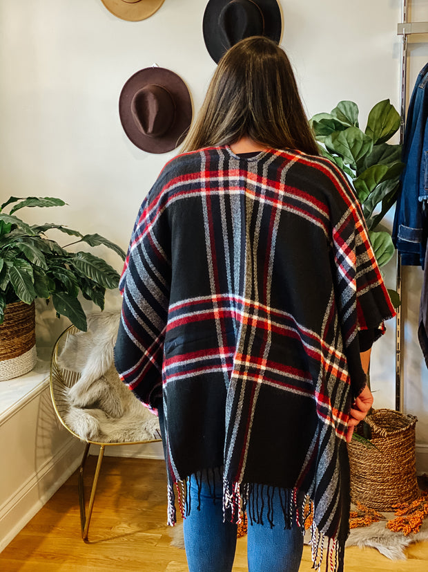 The Jenna Plaid Poncho